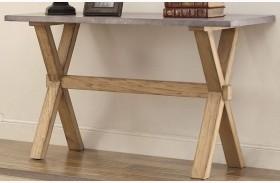 Luella Cool Weathered Oak Zinc Top Sofa Table