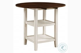 Kiwi White Wash And Dark Cherry Drop Leaf Counter Height Dining Table