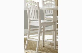 Summerhill Rubbed Linen White Slat Back Counter Chair Set of 2