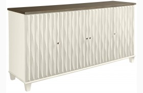 Coastal Living Oasis Saltbox White Tides Wood Top Buffet