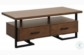 Sedley Walnut and Rustic Black Cocktail Table