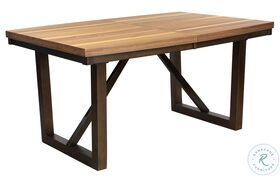 Compson Natural and Walnut Rectangular Extendable Dining Table