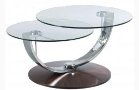 Pivot Walnut Veneers Round Cocktail Table