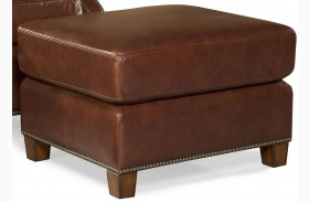 Kingston Vintage Auburn Leather Ottoman