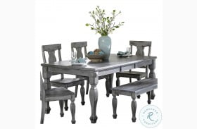 Fulbright Wire Brushed Gray Extendable Dining Table