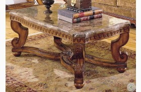 Tarantula Burnished Brown Cherry Marble Top Cocktail Table