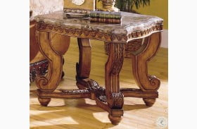 Tarantula Burnished Brown Cherry Marble Top End Table
