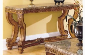 Tarantula Burnished Brown Cherry Marble Top Sofa Table