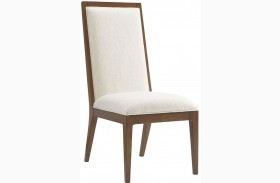 Island Fusion Natori Off  White Fabric Slat Back Side Chair