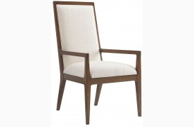 Island Fusion Natori Off  White Fabric Slat Back Arm Chair