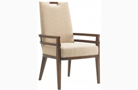 Island Fusion Coles Bay Gold Geometric Fabric Arm Chair