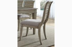 Grayton Grove Driftwood Slat Back Upholstered Side Chair Set of 2