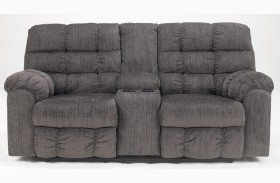 Acieona Slate Double Reclining Loveseat with Console