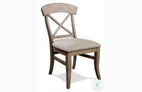 Southport Antique Oak X Back Upholstered Side Chair Set Of 2