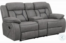 Higgins Gray Reclining Console Loveseat