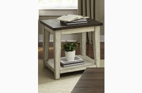 Lancaster Antique White And Brown End Table