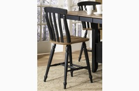 Al Fresco Black Slat Back Counter Chair Set of 2