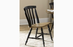 Al Fresco Black Slat Back Side Chair Set of 2