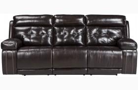 Graford Walnut Power Reclining Sofa With Adjustable Headrest