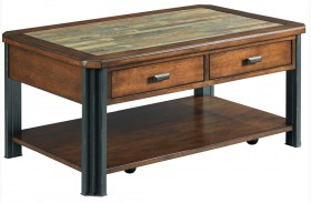 Slaton Warm Mocha Finish Small Rectangular Cocktail Table
