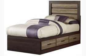 Oakland Smoky Brown And Grayed Birch Twin Captains Storage Bed