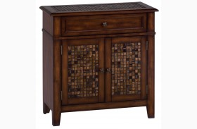 Baroque Brown Mosaic Tile Inlay Accent Cabinet
