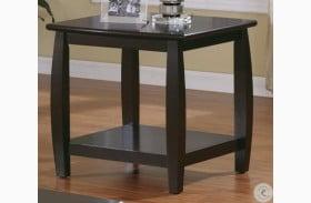 701077 Espresso End Table With Bottom Shelf