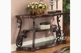 Mahogany Ornate Metal Sofa Table
