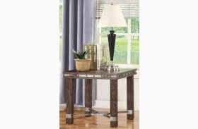 Sandblasted Brown End Table