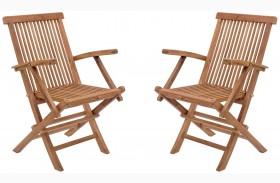 Regatta Natural Folding Arm Chair Set of 2