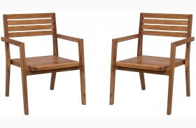 Nautical Natural Dining Arm Chair Set of 2