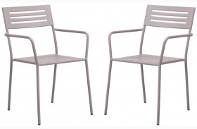 Wald Taupe Dining Arm Chair Set of 2