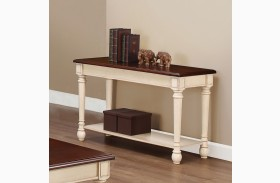704419 Dark Brown and White Sofa Table