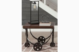 Chestnut and Rustic Bronze End Table