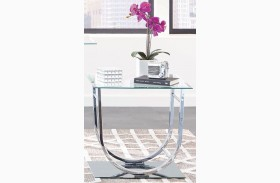 Chrome Glass Top End Table