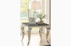 Chrome and Black Glass Top Chrome End Table