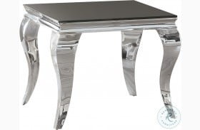 705017 Chrome and Black Glass Top End Table