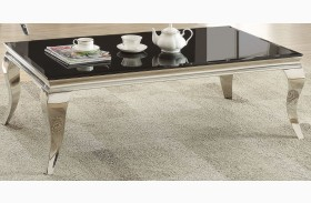 Chrome and Black Glass Top Coffee Table