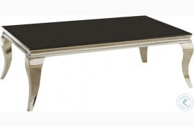 705018 Chrome and Black Glass Top Coffee Table
