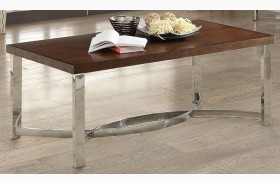Dark Brown and Chrome Coffee Table