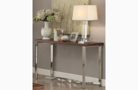 Dark Brown and Chrome Sofa Table