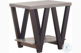 705397 Antique Grey and Black End Table