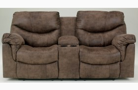 Alzena Double Power Reclining Loveseat with Console