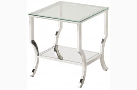 Chrome and Tempered Glass End Table