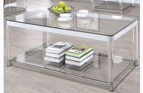 Chrome and Clear Acrylic Rectangular Coffee Table