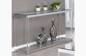 Chrome and Clear Acrylic Sofa Table