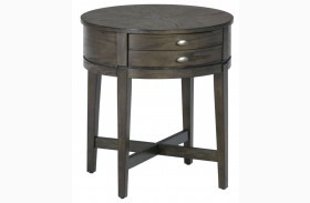 Antique Grey Round End Table