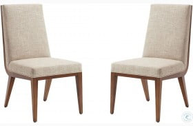 Kitano Rich Brown Hazelnut Marino Upholstered Side Chair Set of 2