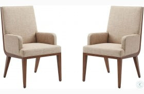 Kitano Rich Brown Hazelnut Marino Upholstered Arm Chair Set of 2