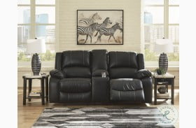 Calderwell Black Double Reclining Power Loveseat with Console